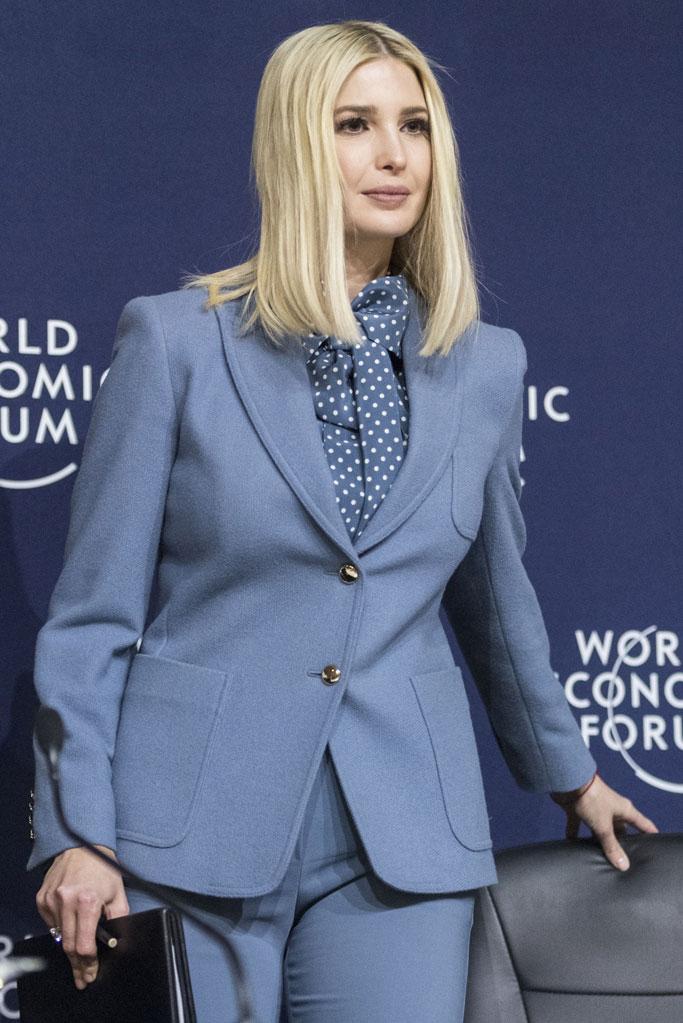 Ivanka Trump, davos, switzerland, world economic forum, celebrity style, senior white house advisor, max mara pantsuit, blazer, pants, polka-dot blouse,
