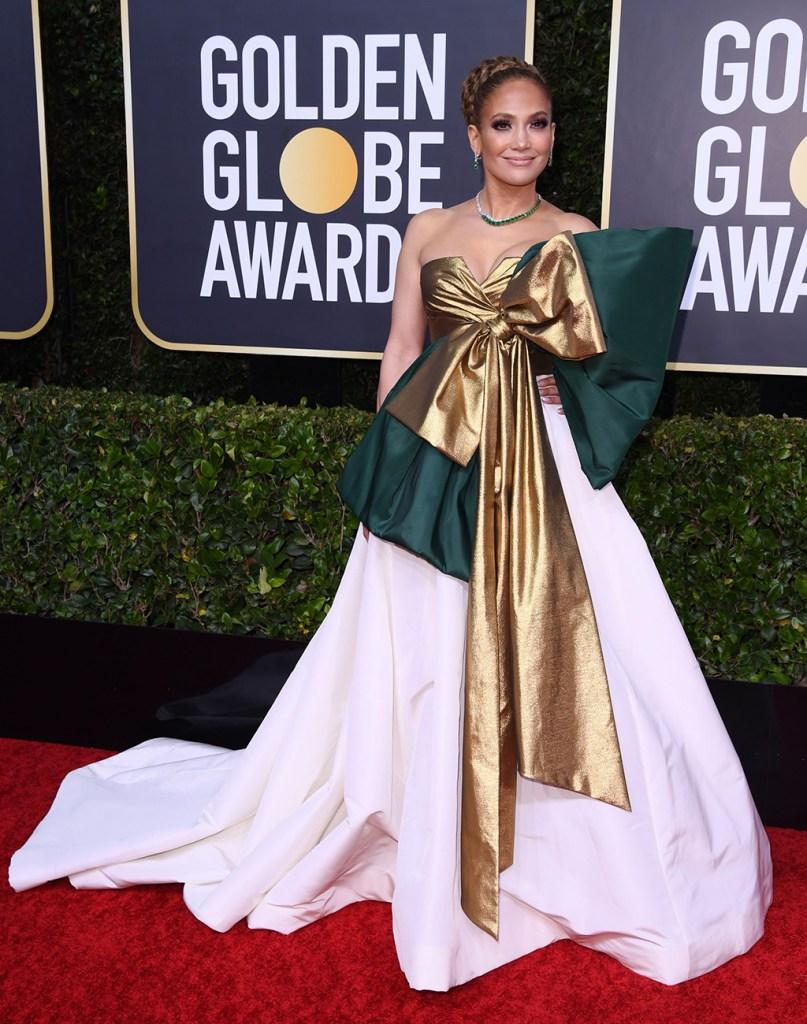 Jennifer Lopez, valentino, gown, bow, red carpet, celebrity style, fashion, emerald, diamond, jewelry, 77th Annual Golden Globe Awards, Fashion Highlights, Los Angeles, USA - 05 Jan 2020