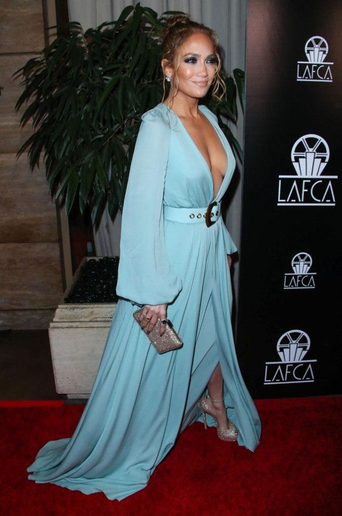Jennifer Lopez , elie saab, blue dress, spring 2020, celebrity style, cleavage, laftas, blue dress, casadei heels, red carpet