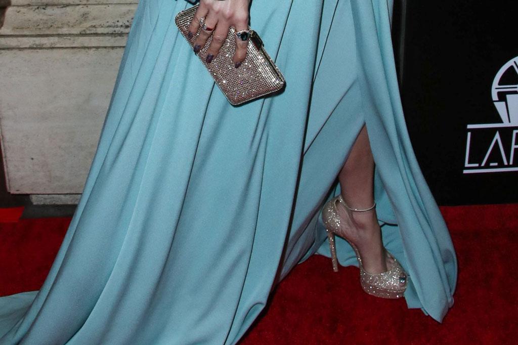 Jennifer Lopez, j-lo, celebrity style, blue dress, platform sandals, casadei