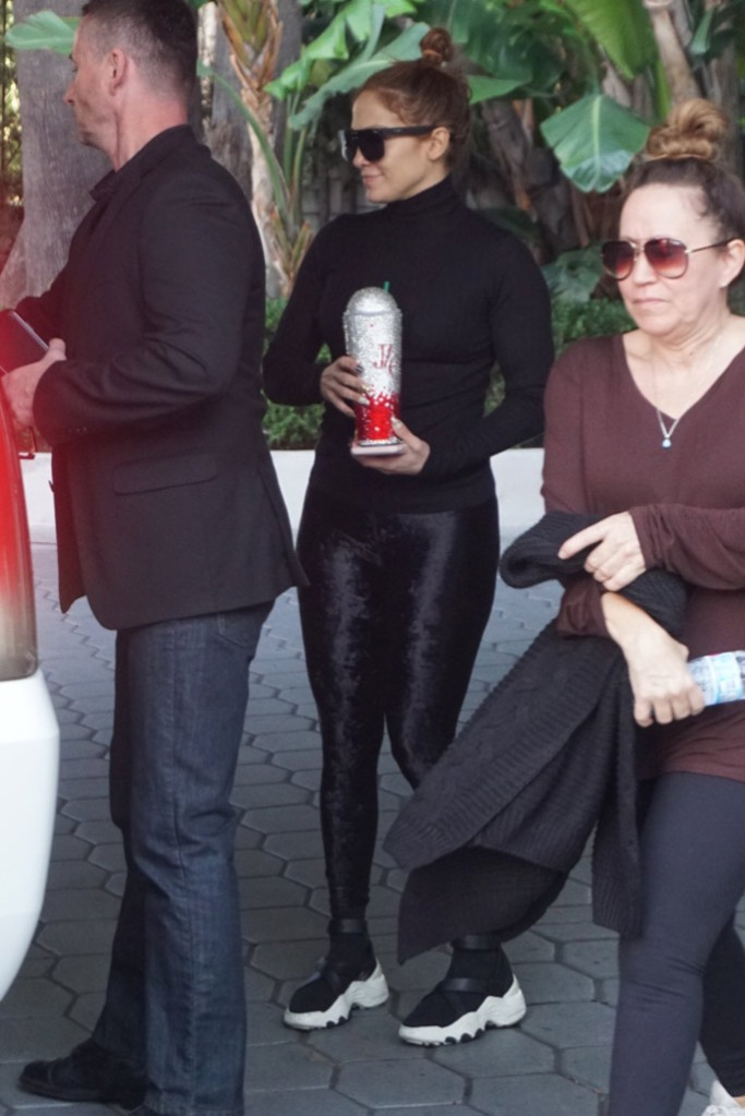jennifer lopez, j-lo, miami, the kooples x slick woods, high top sneakers, beyond yoga leggings, velvet leggings, black turtleneck, sunglasses, los angeles