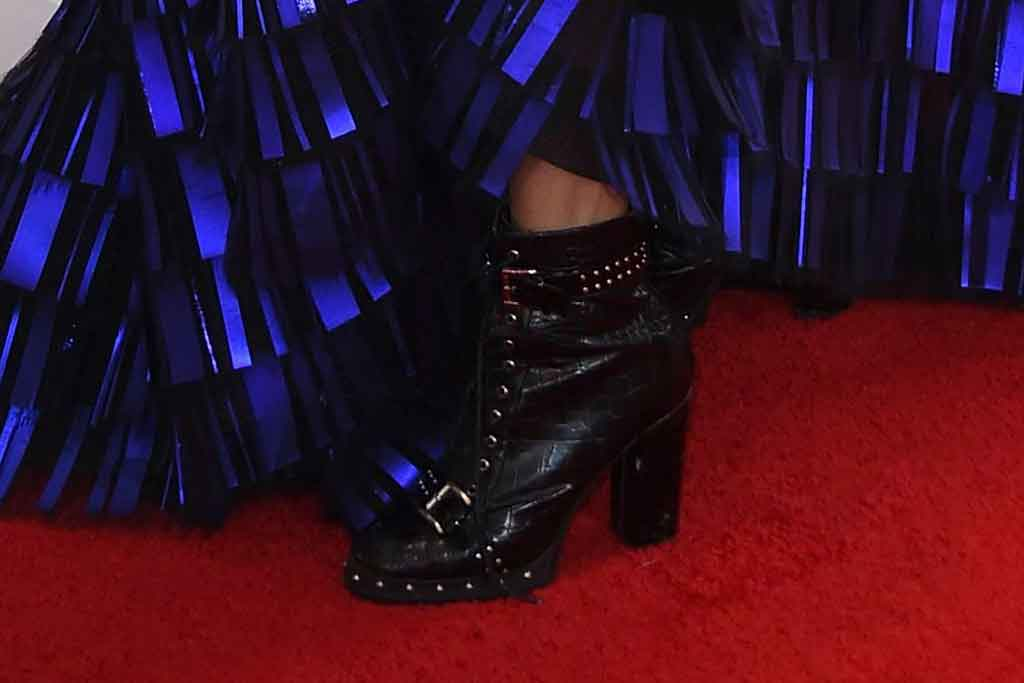 Jameela Jamil , georges chakra fall 2019 couture, blue and black dress, asos boots, booties, platforms, red carpet, celebrity style, arrives at the 62nd annual Grammy Awards at the Staples Center, in Los Angeles62nd Annual Grammy Awards - Arrivals, Los Angeles, USA - 26 Jan 2020, shoe detail
