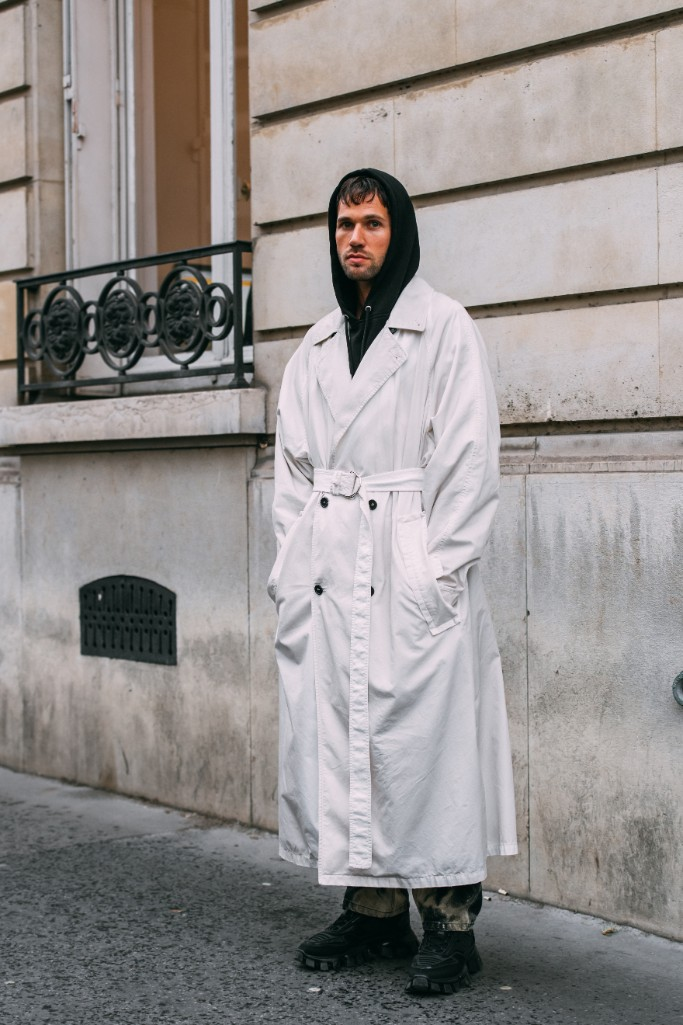 prada cloudbust thunder sneakers, paris fashion week men's street style
