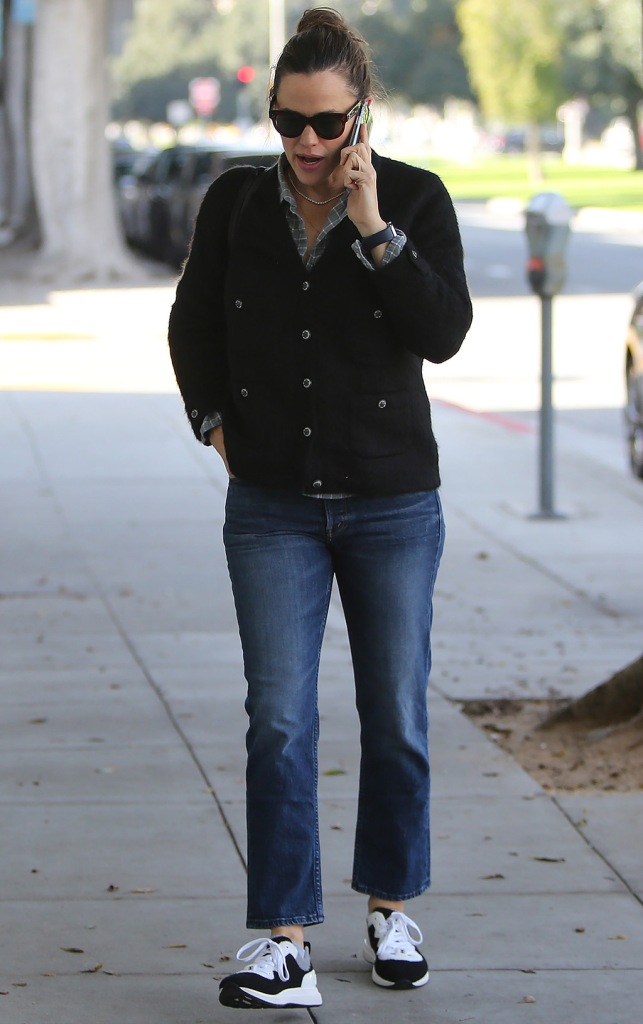 Jennifer Garner, chanel sneakers, mom jeans, cardigan, plaid shirt, celebrity style, Jennifer Garner out and about, Los Angeles, California, USA - 04 Jan 2020