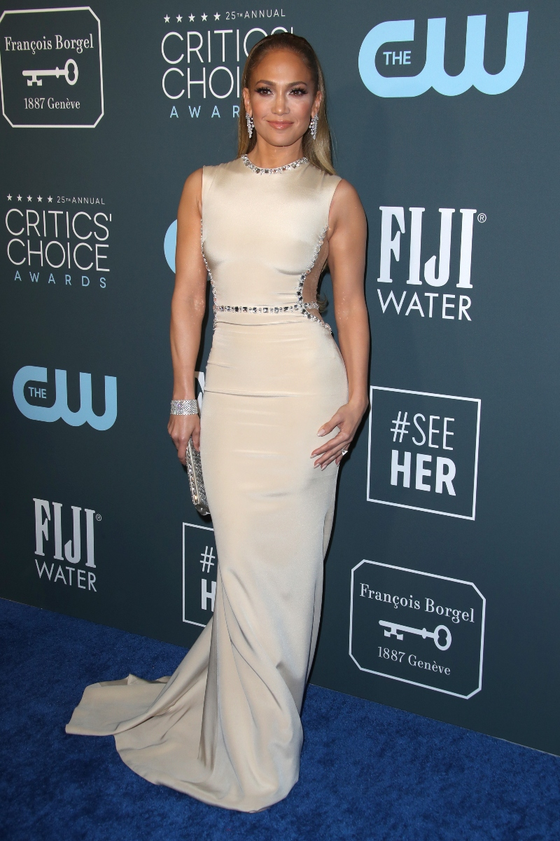 jennifer lopez, critics choice awards, nude dress