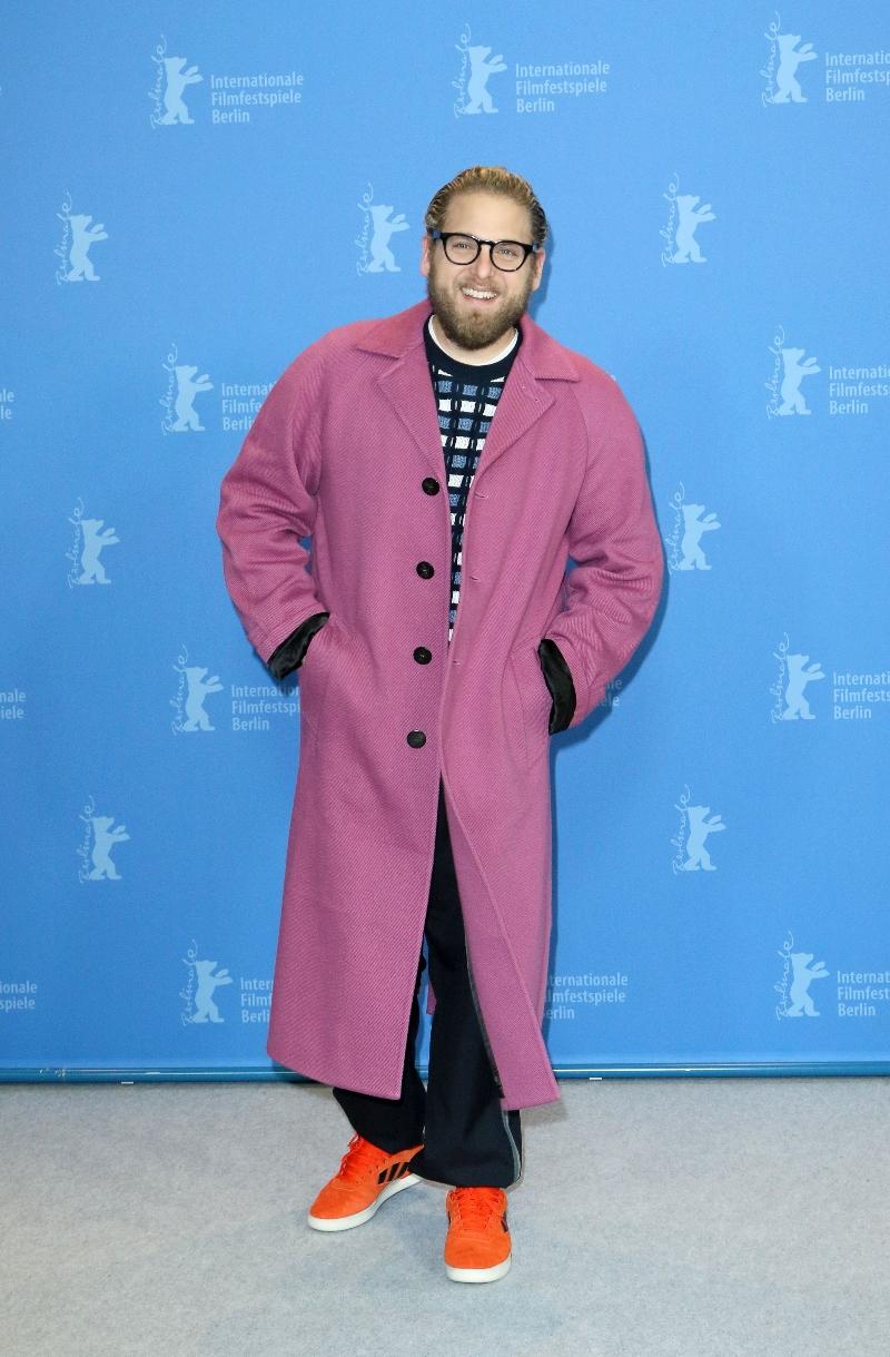 jonah hill, pink jacket, adidas, sneakers, orange, photocall