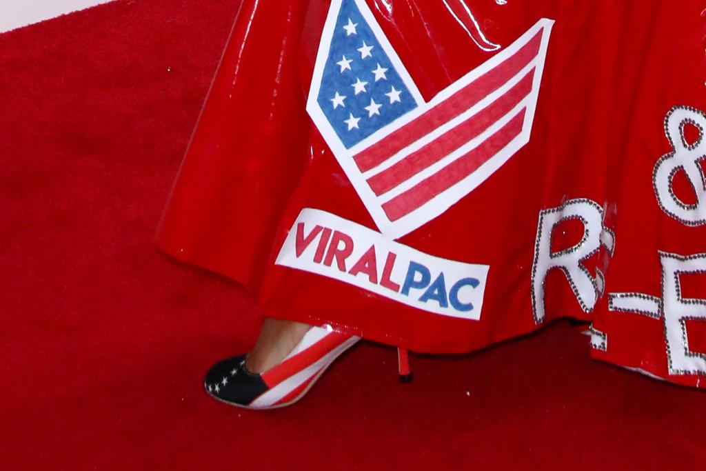 joy villa, trump, grammy awards, 2020, dress, red carpet, american flag heels