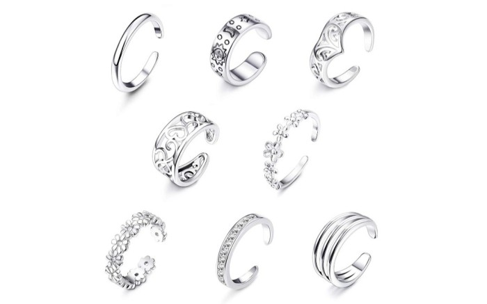 Jstyle 8 Piece toe ring Set