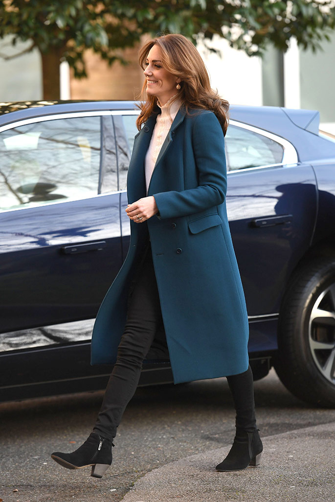 kate middleton s teal coat and recycled boots in london footwear news footwear news