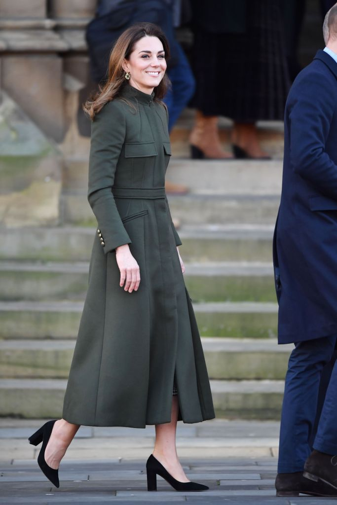 kate middleton, alexander mcqueen coat, gianvito rossi pumps, black suede heels, celebrity style, zara dress, zeen earrings, Catherine Duchess of CambridgePrince William and Catherine Duchess of Cambridge visit to Bradford, UK - 15 Jan 2020Wearing Alexander McQueenCatherine Duchess of CambridgePrince William and Catherine Duchess of Cambridge visit to Bradford, UK - 15 Jan 2020Wearing Alexander McQueen