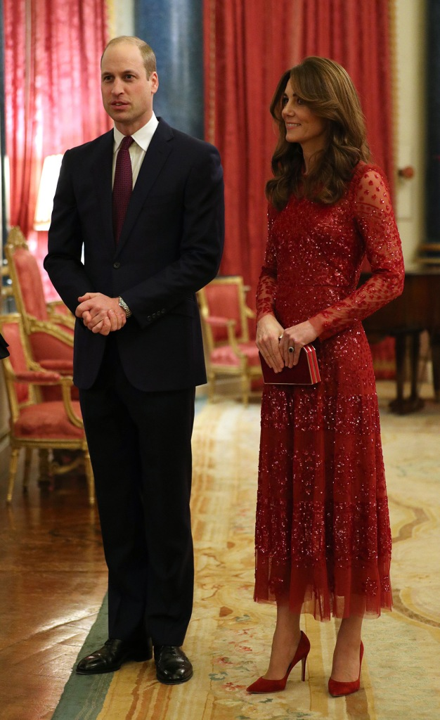 kate middleton, needle and thread dress, red dress, evening gown, gianvito rossi shoes, pointed toe pumps, jenny packham clutch, Prince William and Catherine Duchess of Cambridge at a reception at London's Buckingham Palace, Britain, 20 January 2020, to mark the UK-Africa Investment Summit.UK Africa Investment Summit, London, United Kingdom - 20 Jan 2020