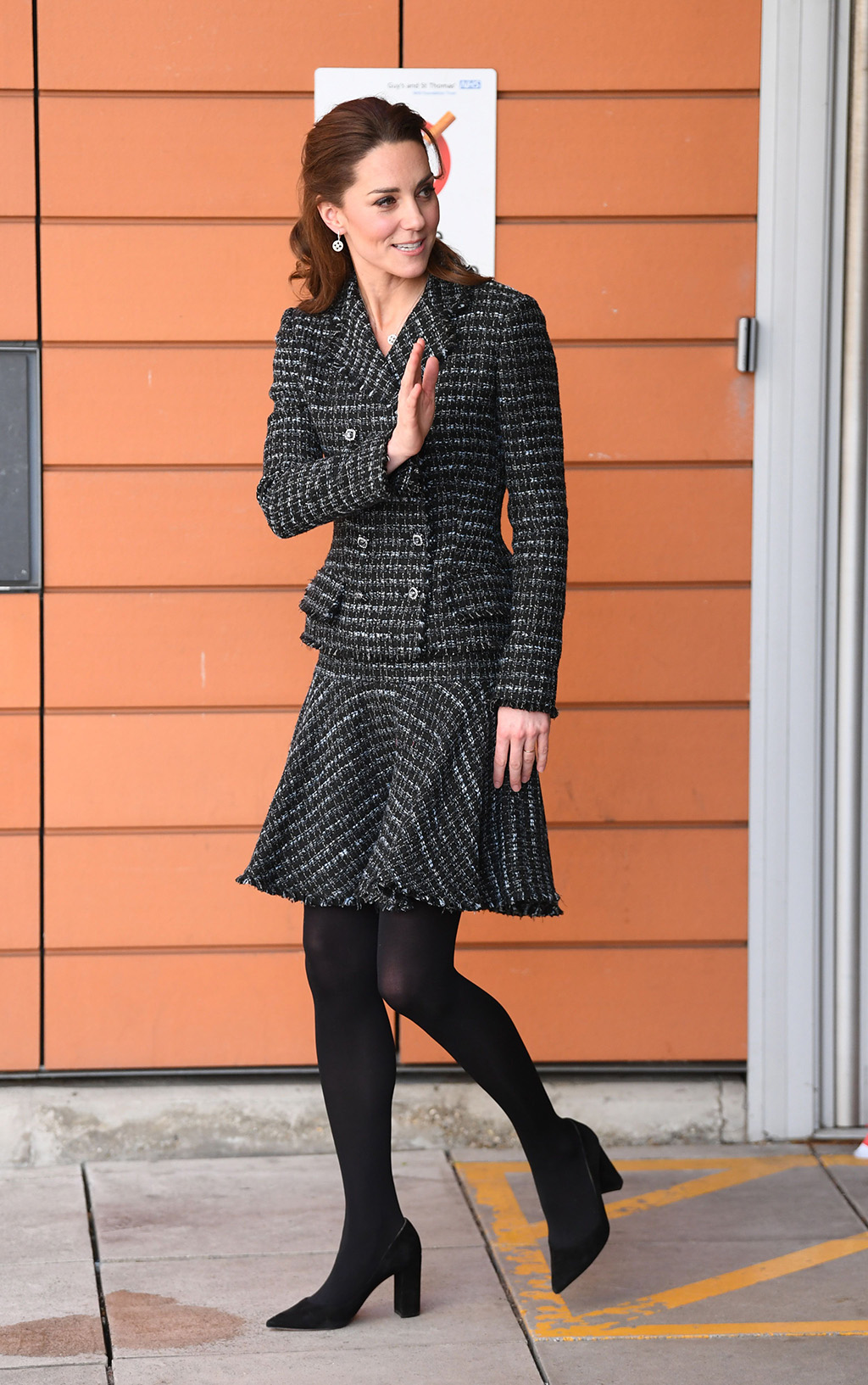 kate middleton, dolce and gabbana, skirt suit, gianvito rossi pumps, black tights, Catherine Duchess of Cambridge visits a National Portrait Gallery Workshop at Evelina London Children's HospitalCatherine Duchess of Cambridge visit to Evelina London Children's Hospital, UK - 28 Jan 2020The Duchess of Cambridge, Patron of Evelina London Children's Hospital and Patron of the National Portrait Gallery, will join a creative workshop run by the National Portrait Gallery's Hospital Programme at Evelina London on Tuesday 28th January to see how the creative arts can support children's health, wellbeing and happiness. The National Portrait Gallery works in close collaboration with play specialists from Evelina London to take artists into the hospital to deliver workshops to children of all ages, along with their siblings and parents. Activities take place on the ward or in play rooms. The Hospital Programme runs in three other children's hospitals in London – Great Ormond Street Hospital, Newham University Hospital and The Royal London Hospital in Whitechapel, working with nursing staff, hospital teachers and specialists. Over the past 15 years over 20,000 children (aged 0-18) have benefited from the creative workshops which include photography, animation, sculpture and textiles.Britain's Catherine, Duchess of Cambridge departs after an engagement at St. Thomas Hospital in London, Britain, 28 January 2020. She visited the Evelina London Children's Hospital which she is a patron of, to undertake a joint creative workshop with the National Portrait Gallery.Catherine, Duchess of Cambridge, London, United Kingdom - 28 Jan 2020