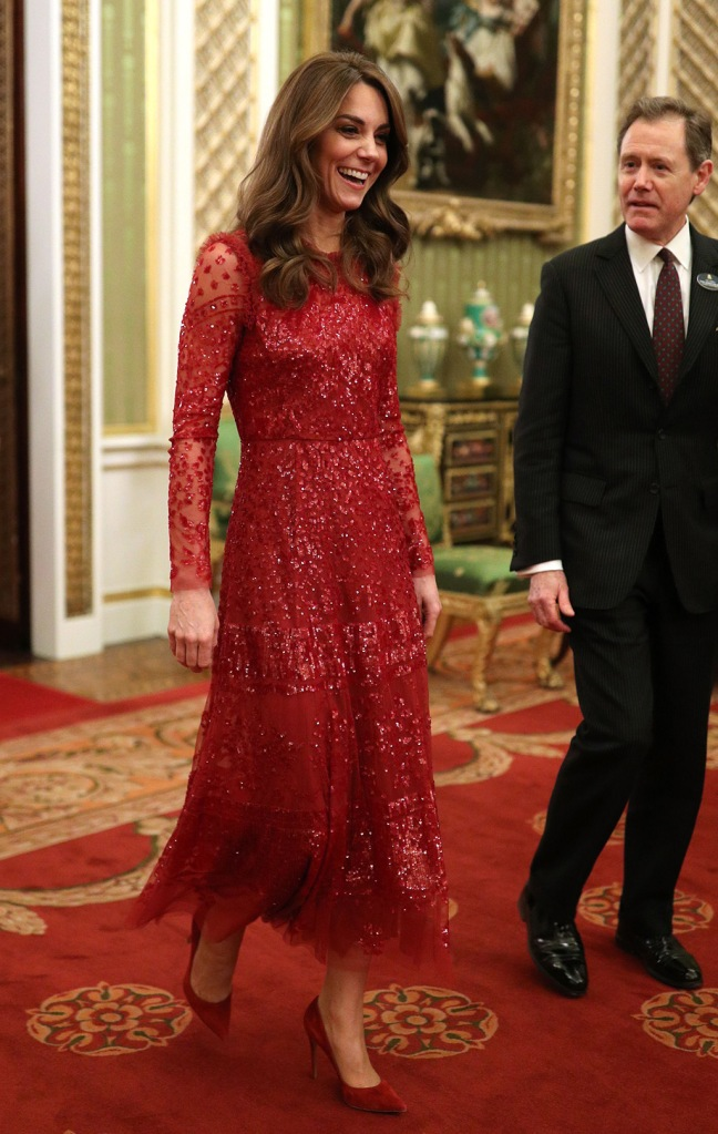 kate middleton, needle and thread dress, red dress, evening gown, gianvito rossi shoes, pointed toe pumps, jenny packham clutch, Prince William and Catherine Duchess of Cambridge at a reception at London's Buckingham Palace, Britain, 20 January 2020, to mark the UK-Africa Investment Summit.UK Africa Investment Summit, London, United Kingdom - 20 Jan 2020Catherine Duchess of Cambridge walks through to the State Room with the Master of the Household at a reception at London's Buckingham Palace to mark the UK-Africa Investment SummitUK-Africa Investment Summit, London, UK - 20 Jan 2020Wearing Needle & Thread