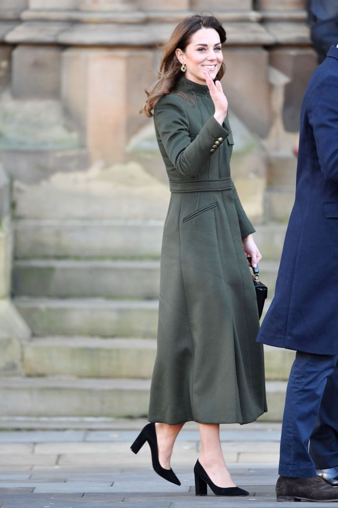 kate middleton, alexander mcqueen coat, gianvito rossi pumps, black suede heels, celebrity style, zara dress, zeen earrings, Catherine Duchess of CambridgePrince William and Catherine Duchess of Cambridge visit to Bradford, UK - 15 Jan 2020Wearing Alexander McQueen