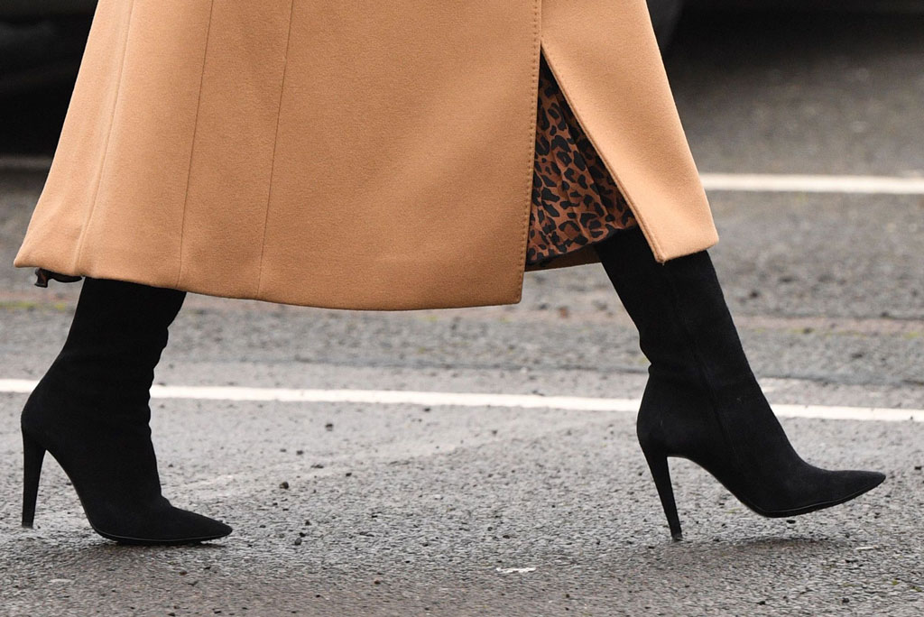 Kate Middleton, black boots, stilettos, celebrity style, street style, cardiff, wales, jan 2020
