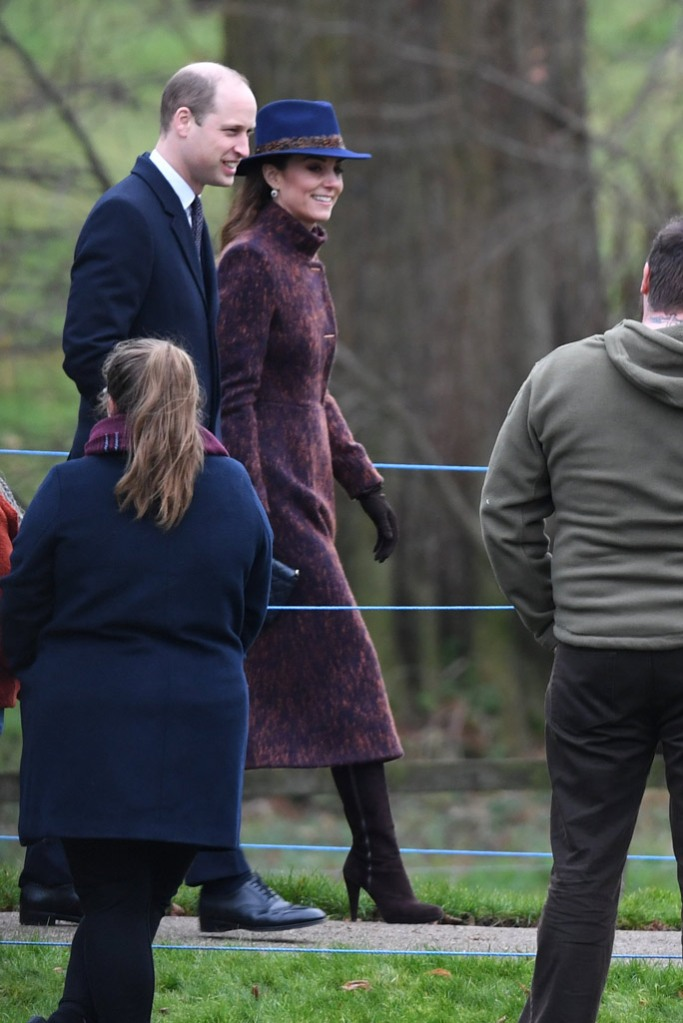 prince william, kate middleton, sandringham, church, celebrity style, long coat, purple coat, hicks and brown hat, fedora, knee high boots, stuart weitzman, january 2020