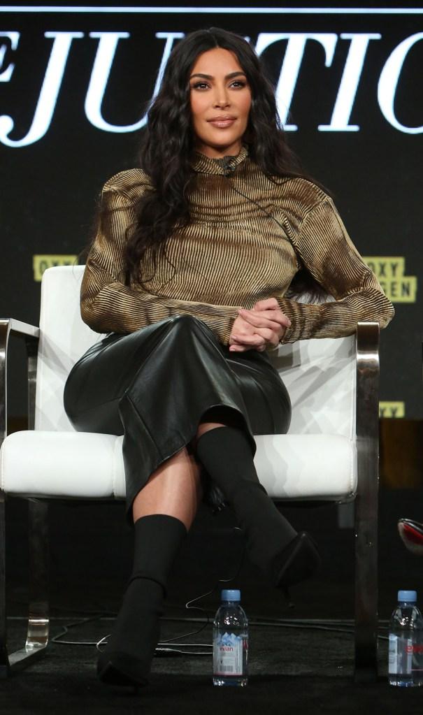 Kim Kardashian, leather skirt, balenciaga boots, turtleneck, celebrity style,  West'The Justice Project' Documentary, Oxygen, TCA Winter Press Tour, Panels, Los Angeles, USA - 18 Jan 2020