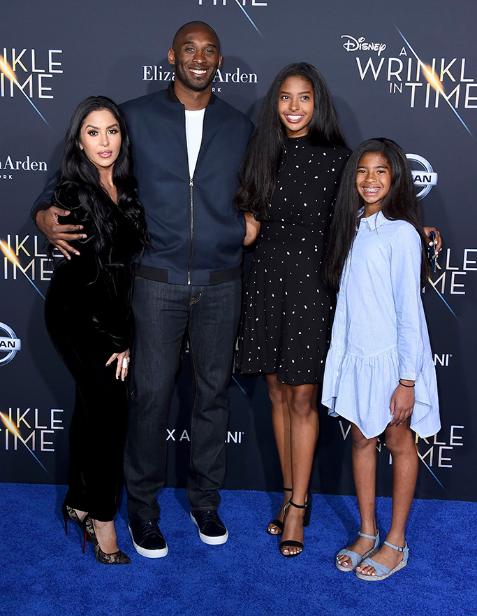 """Vanessa Bryant, Kobe Bryant, Natalia Bryant, Gianna Maria-Onore Bryant. Vanessa Bryant, from left, Kobe Bryant, Natalia Bryant and Gianna Maria-Onore Bryant arrive at the world premiere of """"A Wrinkle in Time"""" at the El Capitan Theatre, in Los AngelesWorld Premiere of """"A Wrinkle in Time"""", Los Angeles, USA - 26 Feb 2018"""