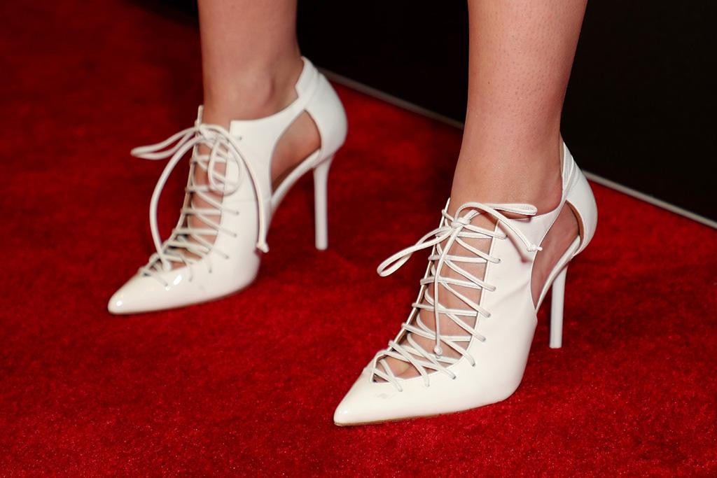 Kristen Stewart, white heels, spiky lace-up boots, stilettos, high heels, shoe detail'Underwater' film premiere, Arrivals, Alamo Drafthouse Cinema Downtown Los Angeles, USA - 07 Jan 2020