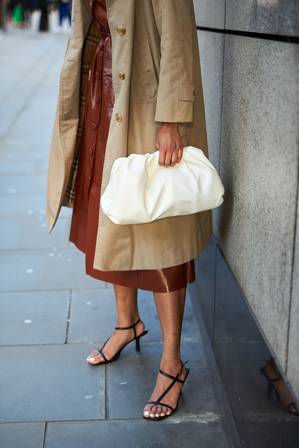 Street Style, strappy sandals, bag detailStreet Style, Autumn Winter 2020, London Fashion Week, UK - 04 Jan 2020