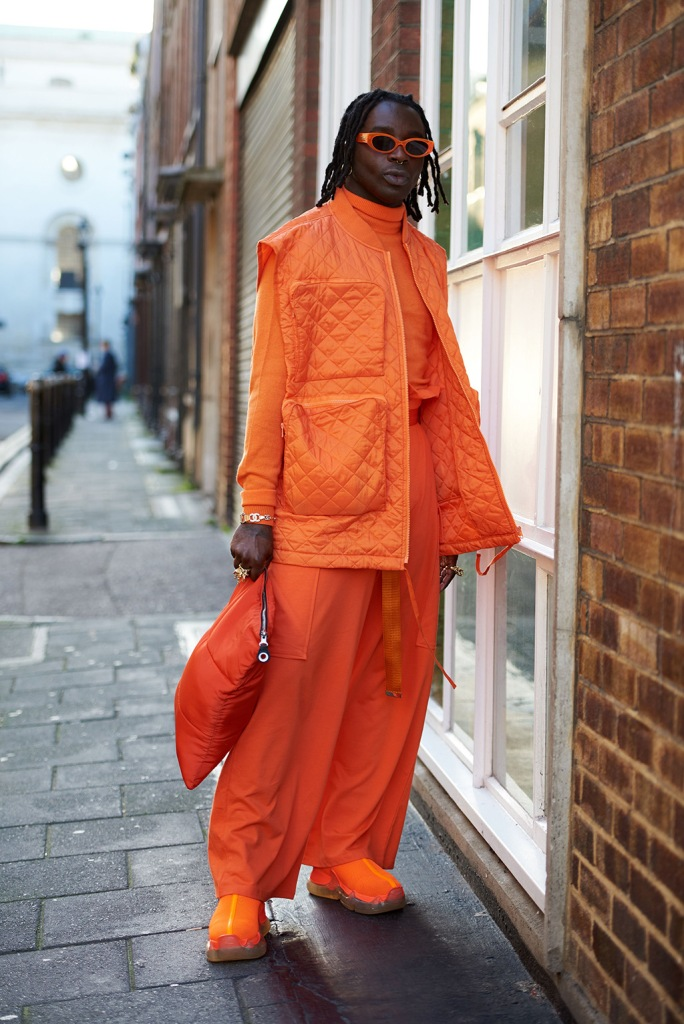 Street Style, orange, tangerine, sneakers, Street Style, Autumn Winter 2020, London Fashion Week, UK - 04 Jan 2020