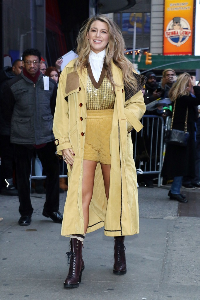 Blake Lively, valentino boots, fendi, trench coat, shorts, sweater, collared shirt, fendi spring 2020, valentino shoes, 'Good Morning America' TV show, New York, USA - 28 Jan 2020