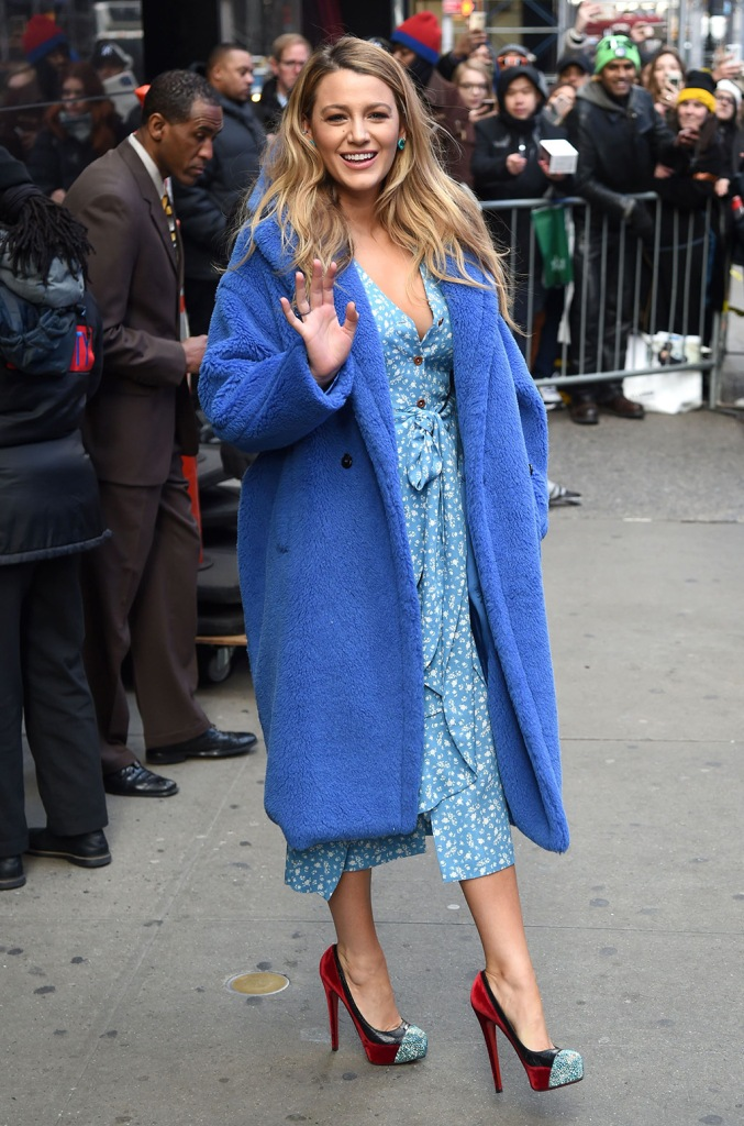 Blake Lively, gma, christian louboutin, platform heels, street style, statement shoes, ulyana sergeenko dress, silk dress, max mara fall 2019, cobalt blue coat, 'Good Morning America' TV show, New York, USA - 28 Jan 2020