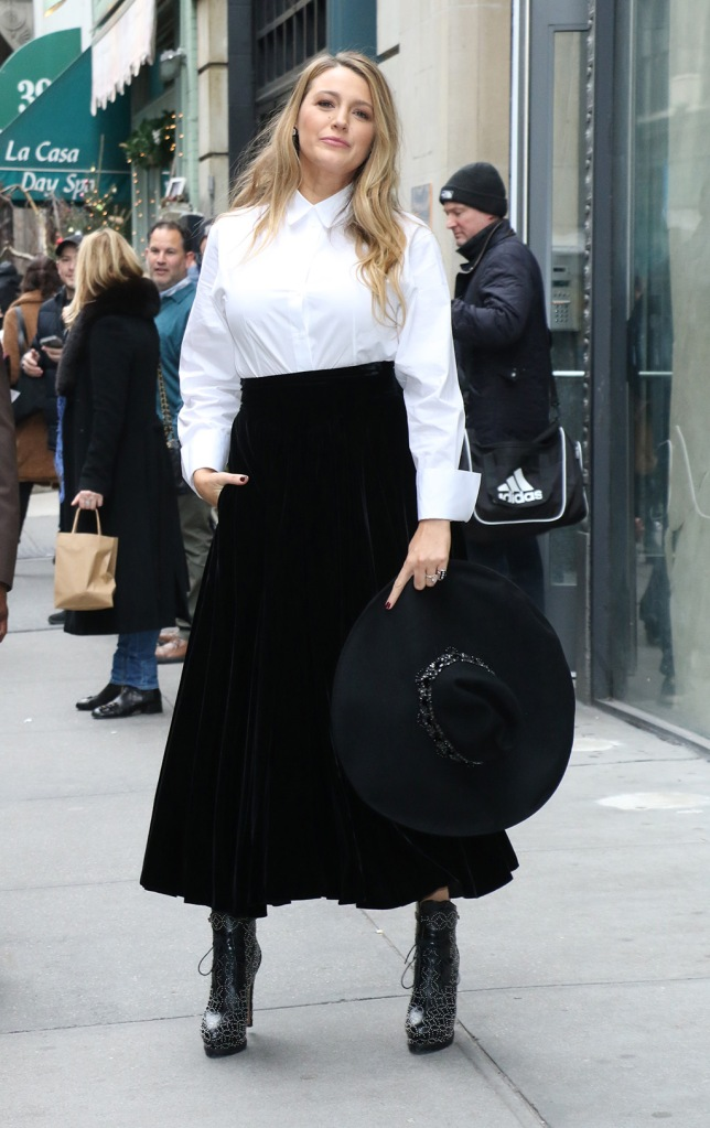 Blake Lively, alaia, white collared shirt, black velvet skirt, boots, street style, press tour, Blake Lively out and about, New York, USA - 28 Jan 2020