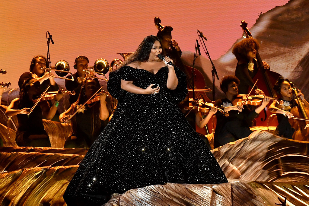 lizzo, Christian Siriano, gown, on stage, grammy performance