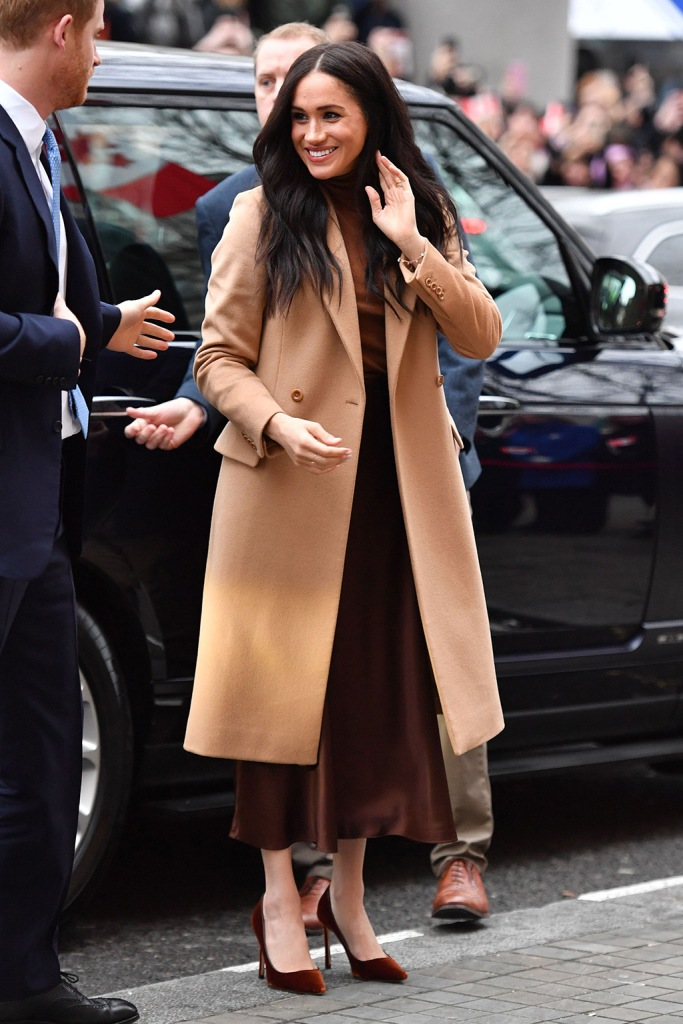 meghan markle, tan coat, stella mccartney coat, brown skirt, jimmy choo romy pumps, velvet pumps, stilettos, street style, 2020, Prince Harry and Meghan Duchess of SussexPrince Harry and Meghan Duchess of Sussex visit to Canada House, London, UK - 07 Jan 2020Their Royal Highnesses wanted to meet with HE. Ms. Janice Charette, High Commissioner in Canada to the UK as well as staff to thank them for the warm Canadian hospitality and support they received during their recent stay in Canada. Following their meeting with the High Commissioner, Their Royal Highnesses will visit the Canada Gallery and view a special exhibition by Indigenous Canadian artist, Skawennati. The Duke and Duchess of Sussex will also meet different members of the High Commission team who work in a range of sectors supporting the partnership between Canada and the UK. The Duke and Duchess of Sussex last visited Canada House on Commonwealth Day in March 2019 where they met and spoke with young Canadians from a wide range of sectors including fashion, the arts, and business and academia, about their experiences as expats as well as opportunities for young people working in the Commonwealth.