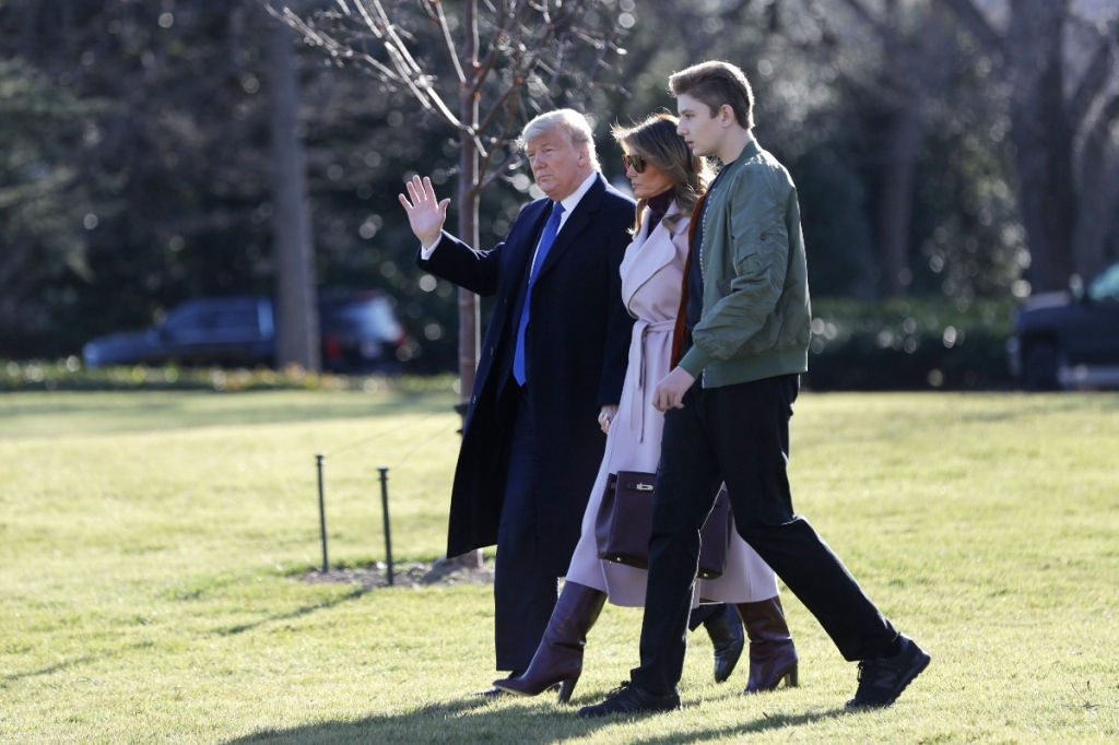melania trump, donald trump, barron trump purple coat, boots