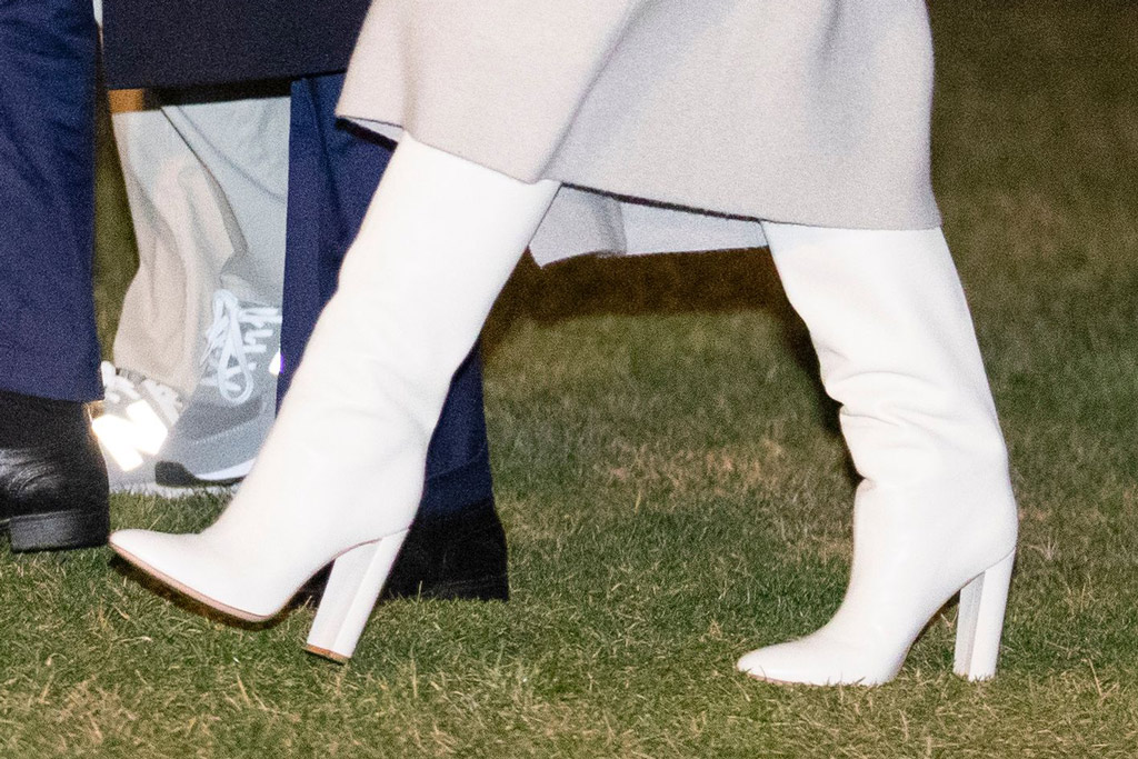 Melania Trump, white boots, slouch boots, celebrity style, white house, january 5, 2020