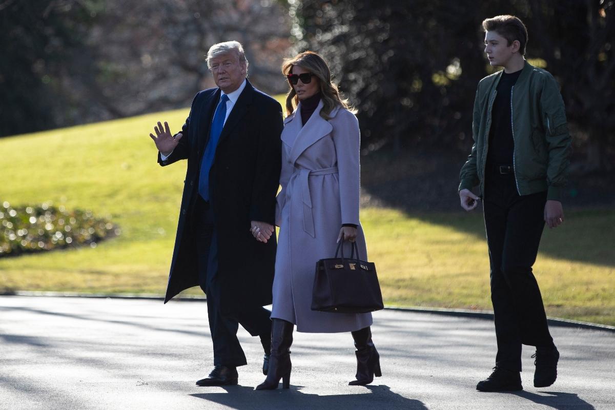melania trump, donald trump, barron trump purple coat, boots