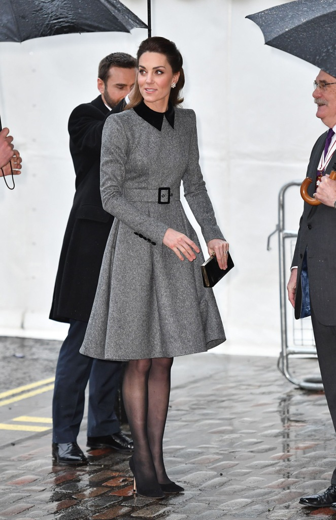 kate middleton, catherine walker coat dress, gray dress, sheer stockings, black pumps, royal style, celebrity fashion, Catherine Duchess of CambridgeHolocaust Memorial Day Commemorative Ceremony, London, UK - 27 Jan 2020The Duke and Duchess of Cambridge will attend the UK Holocaust Memorial Day Commemorative Ceremony in Westminster on Monday 27th January 2020. Holocaust Memorial Day takes place each year on the 27th January, the anniversary of the liberation of Auschwitz-Birkenau, and honours survivors of the Holocaust, Nazi Persecution, and subsequent genocides in Cambodia, Rwanda, Bosnia and Darfur. 2020 marks the 75th anniversary of the liberation of Auschwitz-Birkenau. The ceremony is run by the Holocaust Memorial Day Trust (HMDT) of which The Prince of Wales is Patron.
