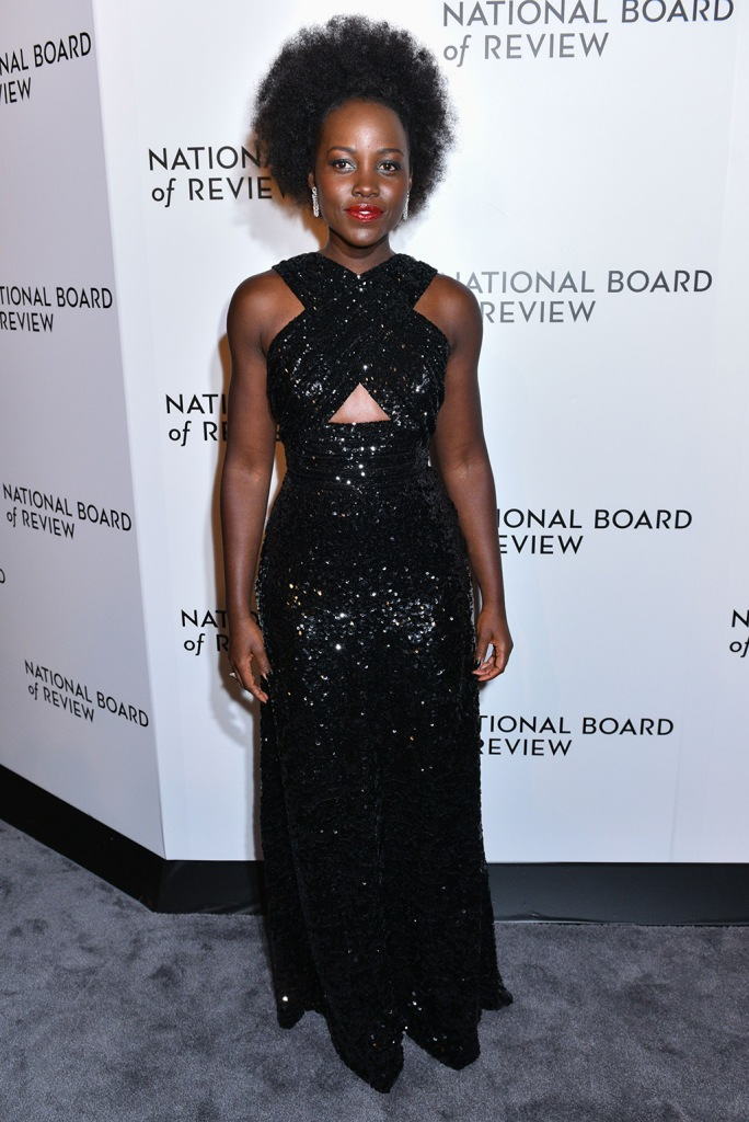 Lupita Nyong'o, celine gown, black dress, sequined gown, National Board of Review Award gala, Arrivals, Cipriani, New York, USA - 08 Jan 2020Wearing Celine
