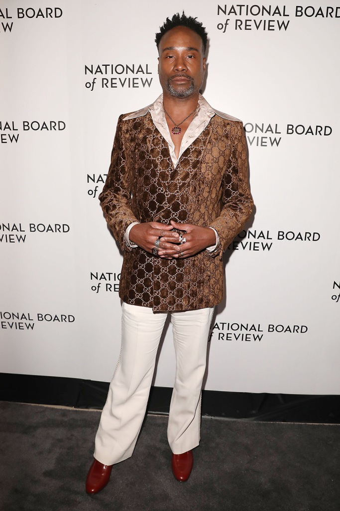 Billy Porter, gucci, 70s vibes, disco, white pants, blazer, National Board of Review 2019 - Red Carpet Arrivals, New York, USA - 08 Jan 2020Wearing Gucci