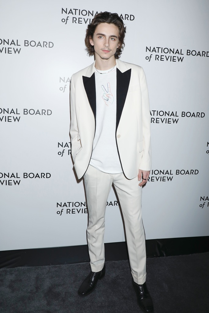 Timothee Chalamet, white suit, black dress shoes, t shirt, National Board of Review Annual Awards Gala, Arrivals, Cipriani 42nd Street, New York, USA - 08 Jan 2020Wearing Stella McCartney