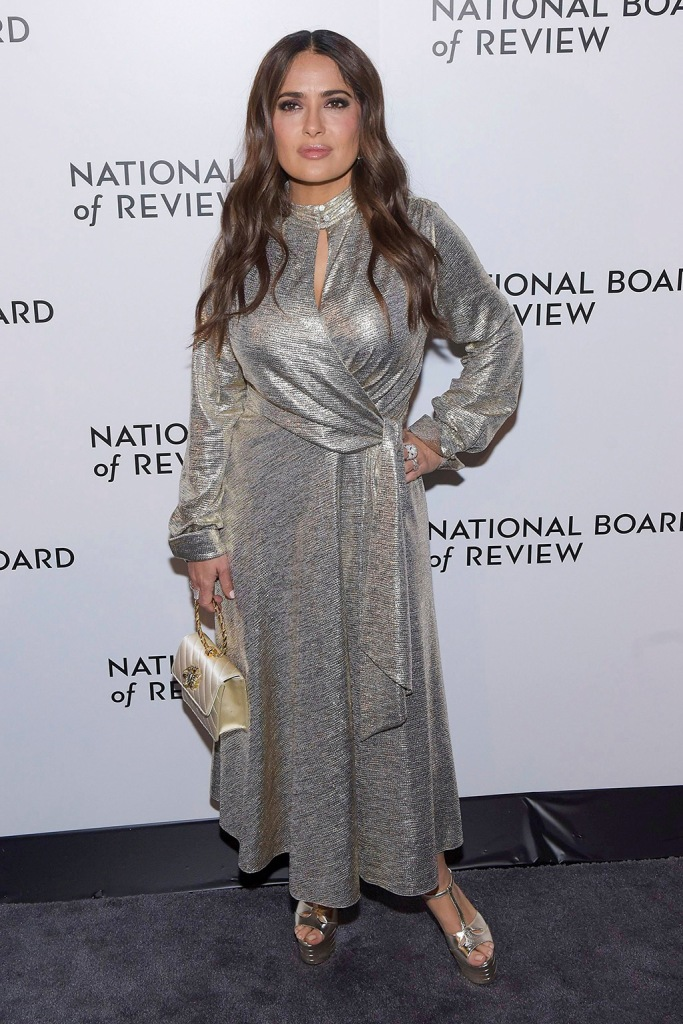 Salma Hayek, silver dress, platform sandals, gold purse, National Board of Review Award gala, Arrivals, Cipriani, New York, USA - 08 Jan 2020Wearing Jonathan Simkhai