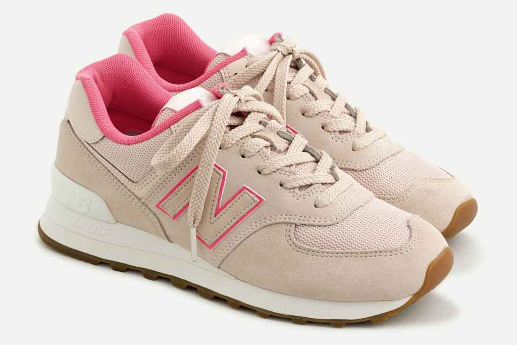 New Balance x J.Crew 574, hot pink, pale pink, sneakers, nb