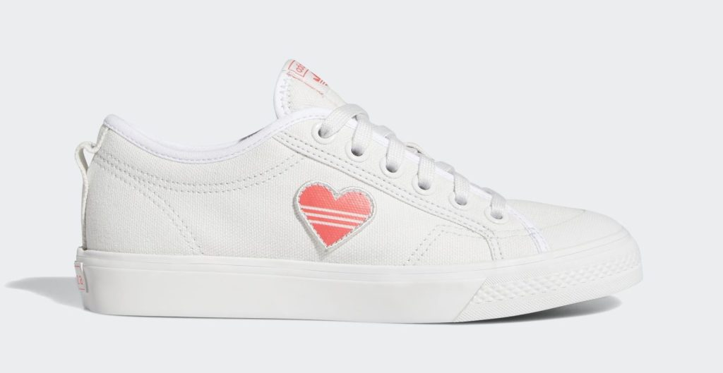 Adidas Nizza Valentine's Day, hearts, sneakers