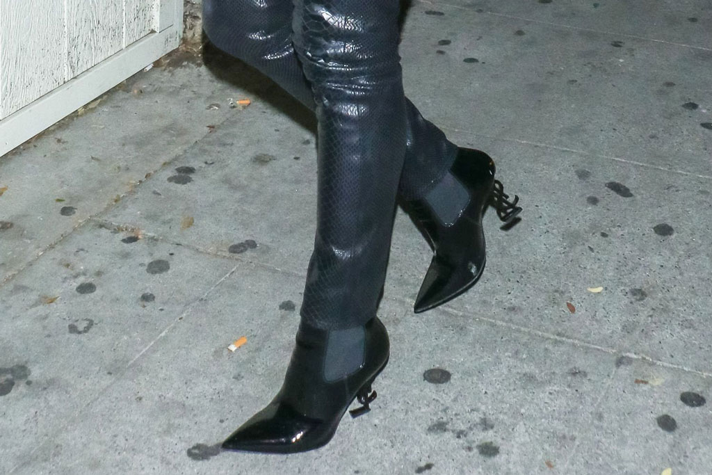 olivia culpo. los angeles, night out, saint laurent boots, celebrity style, j brand pants, skinny pants, leather pants
