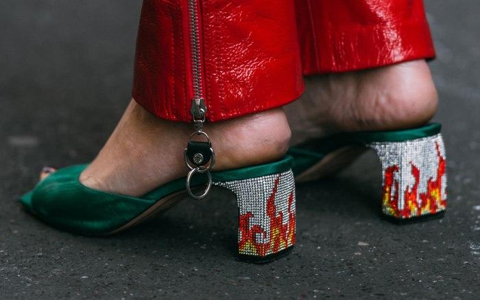 Pamela Costantini , iiandaco sandals, flame heels, red pants