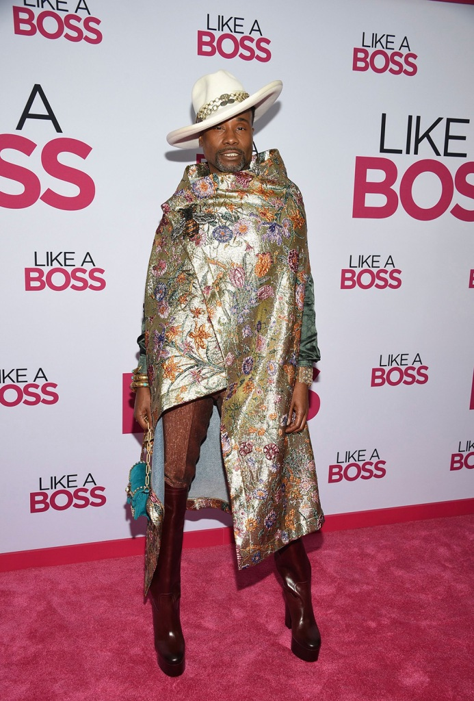 "Billy Porter , gucci, dapper dan, gold cape, white hat, platform boots, knee-high boots, minibag, gold bracelets, celebrity style, attends the world premiere of ""Like a Boss"" at the SVA Theatre, in New YorkWorld Premiere of ""Like a Boss"", New York, USA - 07 Jan 2020"