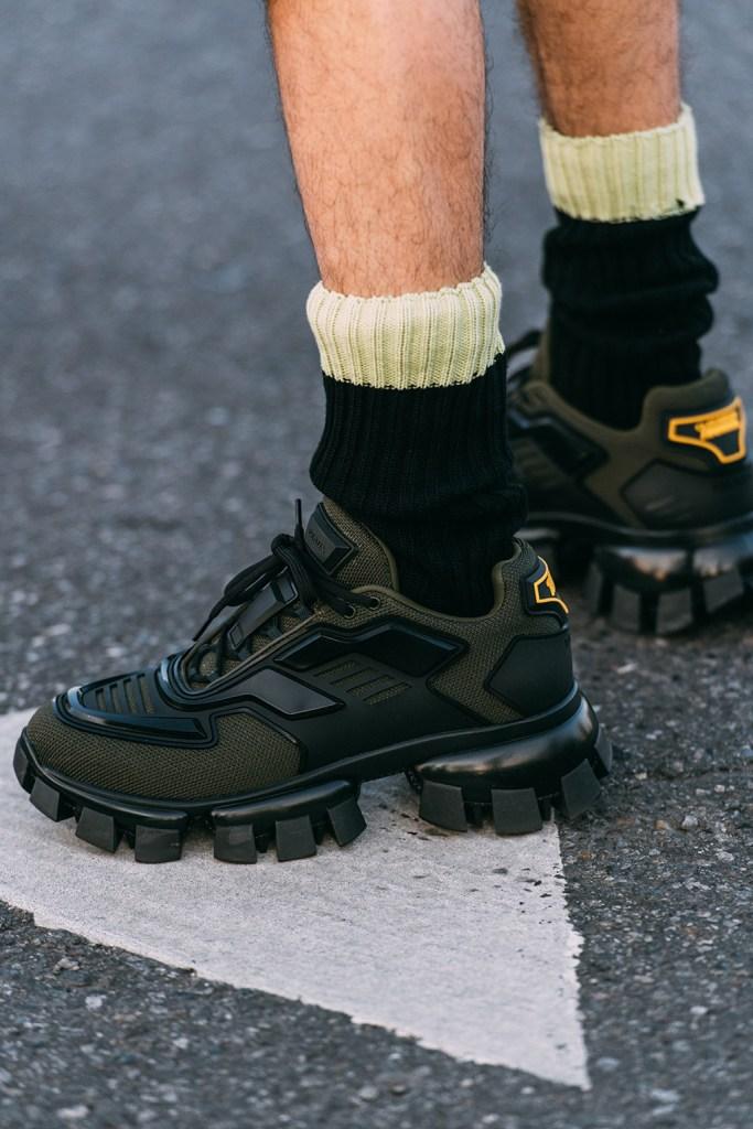 Prada , hiker sneakers, street style, fall 2020, mfw men's, milan fashion week
