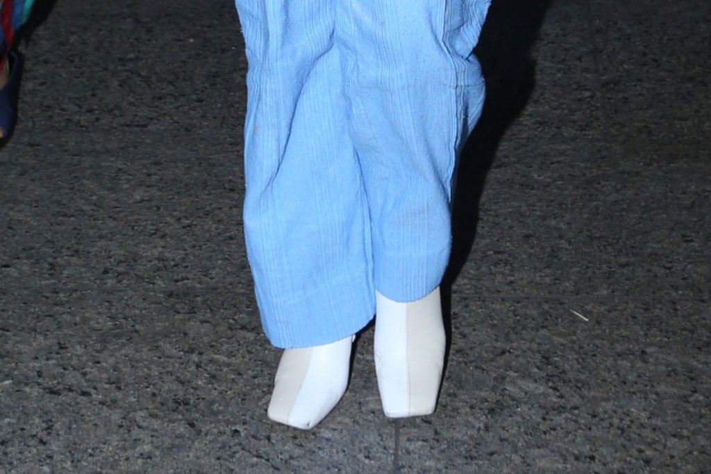 Priyanka Chopra, celebrity style, blue pantsuit, white boots, wandler shoes, mumbai airport, mumbai, india, january 2019