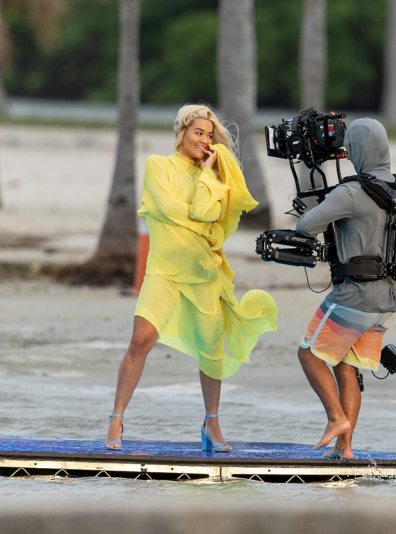 rita ora, miami, music video, yellow dress, blue heels, beach