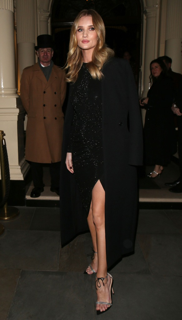 Rosie Huntington-WhiteleyHourglass launch party, Connaught Hotel, London, UK - 22 Jan 2020Wearing Alexandre Vauthier, Shoes by Gianvito Rossi, rosie hw, little black dress, sparkly sandals,