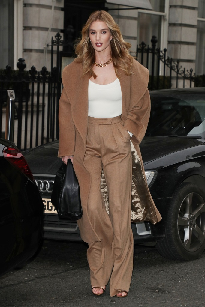Rosie Huntington-Whiteley leaving her London hotelRosie Huntington-Whiteley, tan pantsuit, sandals, out and about, London, UK - 23 Jan 2020