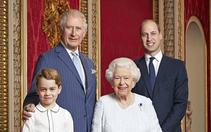Prince George, Prince Charles, Queen Elizabeth II, Prince William, royal family, portrait, buckingham