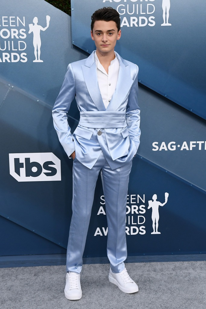 Noah Schnapp, balmain, celebrity style, blue suit, white sneakers, stranger things, 26th Annual Screen Actors Guild Awards, Arrivals, Shrine Auditorium, Los Angeles, USA - 19 Jan 2020